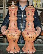 22 Rare Exquisite Natural Crystal Inlay Gem Palace Flower Bottle Vase Pair