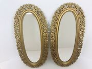 Vintage 1969 Boho Style 2 Wall Mirrors Oval Hanging Floral Gold Frame 2321 Usa