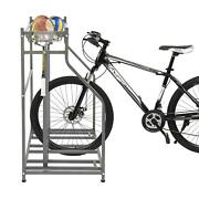 New Heavy Duty 3 Bike Bicycle Freestanding Stand Rack With Storage Black