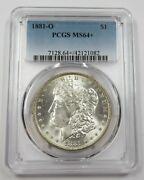 1881-o Pcgs Ms64+ Toned Mint State Silver Morgan Dollar 1 Us Coin Item 28758b