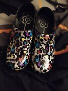 Sanita Leopard Roxy Clogs Womens Size 38 Colorful Rare Discontinued 7.5 Womans