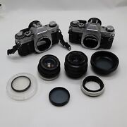 2 Canon Ae-1 35mm Film Camera With 2 - 49mm Lens Untested For Parts Or Repair