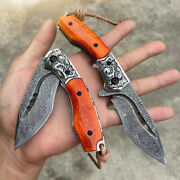 Vg10 Damascus Hunting Knife Folding Camping Army Rescue Tool Combat Flipper Bone