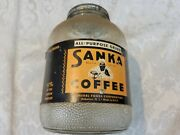 Antique/vintage Sanka Coffee Glass Jar From The 1940s