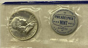 1959 P Franklin Uncirculated Half Dollar From Mint Set In Mint Cello With Token