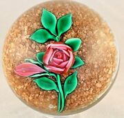 Awesome Ray Banford Pink Cabbage Rose And Bud Gold Stone Art Glass Paperweight