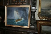 Great Antique  Americana Seascape Boat  By William Lowe 1942
