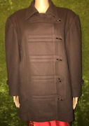 Women's Vtg Hermes Brown Wool And Cashmere Winter Toggle Button Pea Coat Sz 38