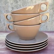 8-pc 4 Sets Vtg Melmac Melamine Texasware Cups And Saucers. 124 And G7. Brown