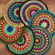 Excellent New Set Of 6 Lovely Bright Round Crocheted Doilies Multicolor 7 1/2andrdquo