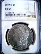 1897-o Morgan Silver Dollar Coin, Ngc Au-58, With Proof-like Fields - Orig