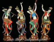 9 China Ancient Boxwood Painting Four Beautiful Women Beauty Belle Statue Set