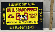 Bull Brand Feeds Metal Sign Stock Good Scratch Feed Farm Cow Chicken Gas Oil