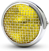 Motorbike Headlight - 7.7 Chrome With Mesh Grill And Yellow Lens - H4 55w