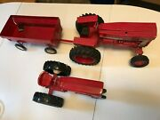 I-h Vintage Diecast Toy Tractors And Wagon From International Harvester