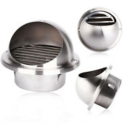 2x Stainless Steel Wall Air Vent Metal Cover Outlet Exhaust Grille 125mm Round