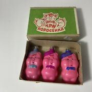 Vintage Russian Glass Christmas Ornaments 3 Little Pigs With Box