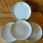 4 Ual United Airlines Gold Logo 1st Class Bread Plates Syracuse China Debonair