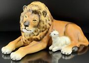🦋 Mint Herend Large Classic Kingdom Lion And Lamb Natural Figurine