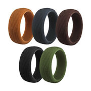 5pcs Bark Texture Silicone Rings For Mens Fashion Classic Wedding Bands
