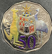 🔴2012 50 Cents Coloured Coat Of Arms Australian Coin. Uncirculated🔥
