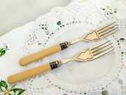 Two Antique Forks Sterling Silver Plated On Brass Celluloid Handles Epns England