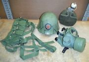 Lot- 4 Military Issued Collectibles Vietnam Era Helmet Mask Canteen Ndr11
