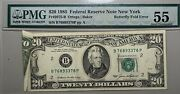 1985 20 Federal Reserve Note New York Butterfly Fold Error Pmg Au 55