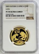 2003 Gold South Africa Lion 50 Rand 1/2 Oz Natura Proof Ngc Pf 70 Ultra Cameo