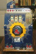 Vintage 1937 Mills Bursting Cherry 5andcent Slot Machine - Works Perfectly - All Keys