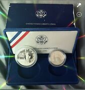 1986 S Statue Of Liberty Commemorative 2 Coin Set Silver Dollar And Half Dollar