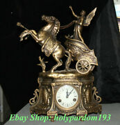 23 Europe Style Copper Horse Pull Cars Angels Clockwork Machinery Table Clock