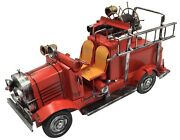 Vintage Classic Extra Large Red Fire Engine Tin Metal 39cm Length Collectible