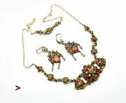 Antique Austrian Necklace Earrings Solid 18k Gold Gilt Silver Citrine Pearls