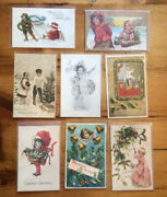 Lot Of 24 Antique Kids Children Holiday Christmas Postcards 1244