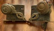 2 Vintage Door Knobs And Latch Locks Removed From House In Detroit/brass