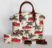 Brahmin Iconic Ember Red Copa Cabana Duxbury And Wallet 57 Chevy, Woody Wagon Nwt