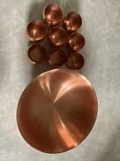 New Coppercraft Guild Footed Bowl With 8 Roly Poly Moscow Mule Copper Cups