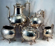 Manning Bowman And Co. Silver Plate Coffee And Tea Service Egyptian Sphinx And Stag