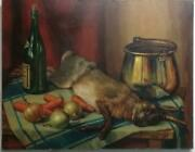 Antique Oil Canvas Painting Signed Ferry N. - Still Life Artwork
