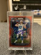 Rare Justin Herbert No Huddle Red Disco With On Card Auto And Coa