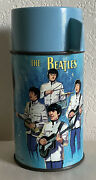 1965 Vintage The Beatles Aladdin Blue Metal Thermos Complete Original Lunchbox