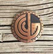 Vintage Solid Copper Bell Trading Post Southwestern Round Brooch Pin