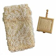 Vintage Cigarette Case Hand White Beaded Satin Lined And Portable Purse Ashtray
