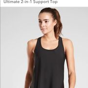 Athleta 2 In 1 Ultimate Support Top Small Black Yoga Workout Tank New
