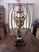 Rare Huge Leaded Stained Glass / Victorian 1800's Cherub Ornate Caged Table Lamp