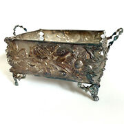 Antique James W Tufts Silver Plate Footed Basket, Floral 2834, Repousse Inside