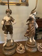 Antique French Lamp Girl And Farm Boy W/ Coin Dish And Violin L And F. Moreau