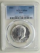 1965 P Kennedy Half Dollar 50 Cents Silver Coin Pcgs Rated Sp 66 Sms