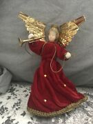 Vintage Made In West Germany Angel Tree Topper Wax Face/hands With Original Box